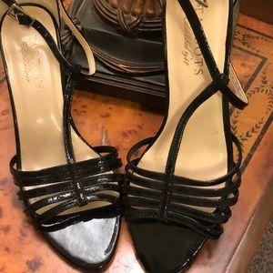 Talbots black patten leather sandal heels.